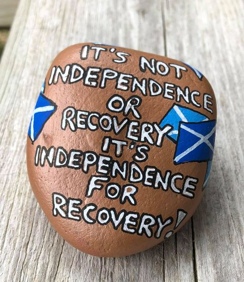 """Yes Stone"" which says ""It's not independence OR recovery, it's independence for recovery!"""